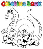 Coloring book with young dinosaurs — Stock Vector