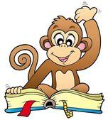 Cute monkey reading book — Stock Vector
