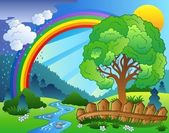 Landscape with rainbow and tree — Stock Vector