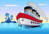 Steamship sailing in sea — Stock Vector