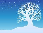 Winter tree with snow 2 — Stock Vector