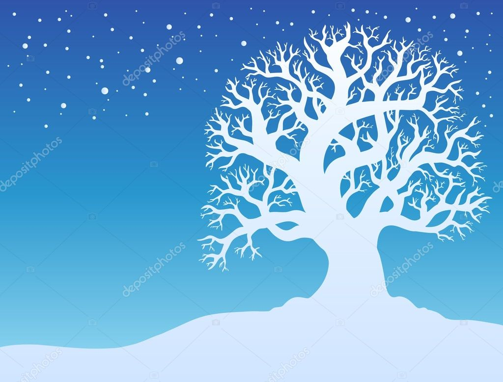 Winter tree with snow 2 - vector illustration.  Stock Vector #4525513
