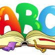 Cartoon ABC letters with open book — Stock Vector