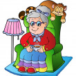 Royalty-Free Stock Vector Image: Cartoon grandma sitting in armchair