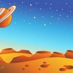 Cartoon red planet landscape — Stock Vector
