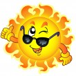Royalty-Free Stock Vector Image: Cartoon winking Sun with sunglasses