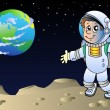 Moonscape with cartoon astronaut - Stock Vector