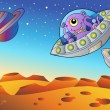 Red planet with flying saucers - Stock Vector