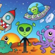 Stock Vector: Various alien and space cartoons