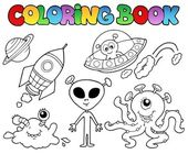 Coloring book with aliens — Stock Vector