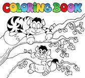 Libro da colorare con due gatti — Vettoriale Stock