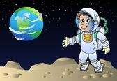 Moonscape with cartoon astronaut — Stock Vector