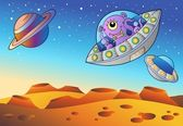 Red planet with flying saucers — Stock Vector