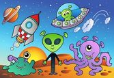 Various alien and space cartoons — Stock Vector