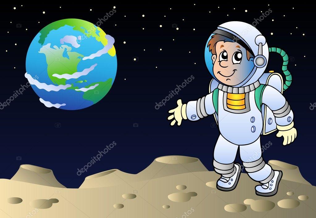 Cohete De Astronauta Y Vintage De Dibujos Animados: Paisaje Lunar Con Astronauta De Dibujos Animados