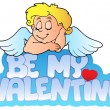 Be my Valentine sign with Cupid — Stock Vector #4656874
