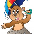 Cartoon groundhog with umbrella - Stock Vector