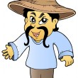 Asian tradesman in hat — Imagen vectorial
