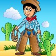 Stock Vector: Cartoon cowboy in desert