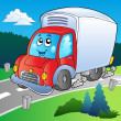 Stock Vector: Cartoon delivery truck on road