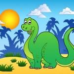 Dinosaur in prehistoric landscape — Stock Vector #4812289
