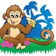 Royalty-Free Stock Vector Image: Monkey eating banana near palms
