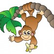 Monkey hanging on palm tree — Stock Vector