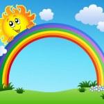 Sun holding rainbow on blue sky — Stock Vector