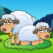 Stock Vector: Two sheep on meadow