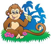 Monkey eating banana near palms — Stock Vector