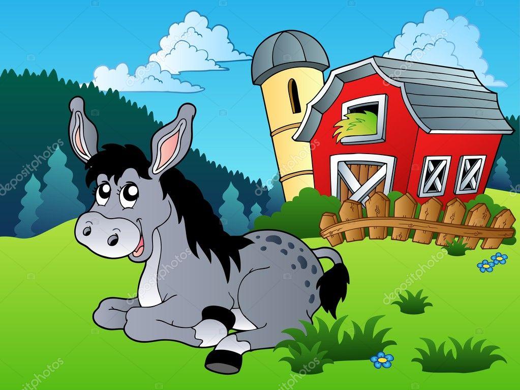 躺在农场附近的驴