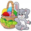 Royalty-Free Stock Vector Image: Basket with Easter eggs and bunny