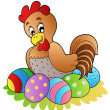 Stock Vector: Cartoon hen with Easter eggs
