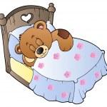 Cute sleeping teddy bear — Stock Vector