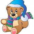 Cute teddy bear in winter clothes — Stock Vector