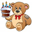 Cute teddy bear with cake — Stock Vector
