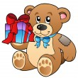 Cute teddy bear with gift - Stock Vector
