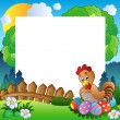 Easter frame with hen and eggs — Stock Vector