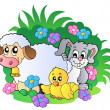 Vector de stock : Group of spring animals