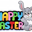 Happy Easter sign with happy bunny — Stock Vector