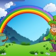 Meadow with rainbow and leprechaun - Stock Vector