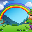 Meadow with rainbow and leprechaun - Image vectorielle