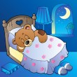Sleeping teddy bear in bedroom — Vector de stock