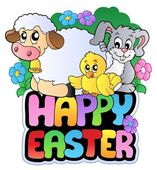 Happy Easter sign with animals — Stock Vector