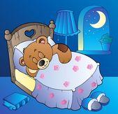 Sleeping teddy bear in bedroom — Stock Vector