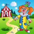Royalty-Free Stock Vector Image: Cartoon clown girl with circus tent