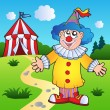 Cartoon clown with circus tent — Stock Vector