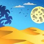 Cartoon night desert landscape — Stock Vector #5065003