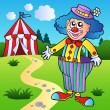 Royalty-Free Stock Vector Image: Clown in big pants with circus tent