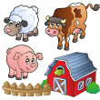 Collection of various farm animals — Vettoriali Stock